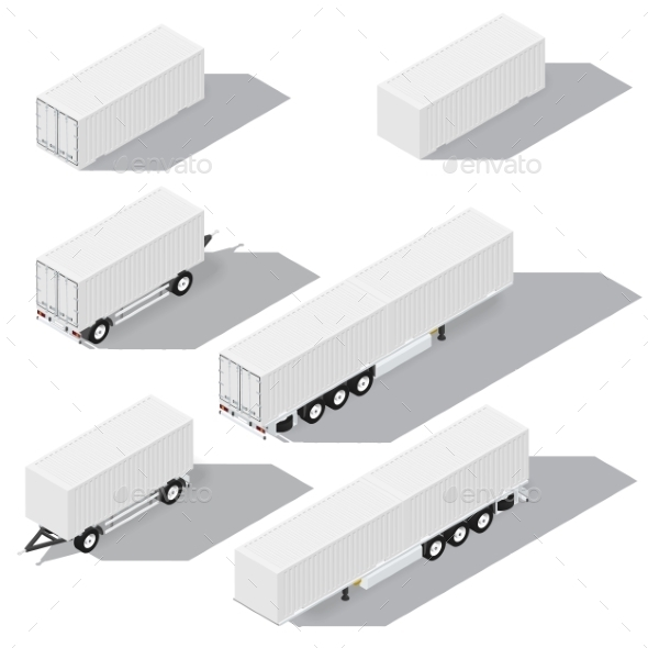 GraphicRiver Shipping Containers and Trailers Isometric 11947739