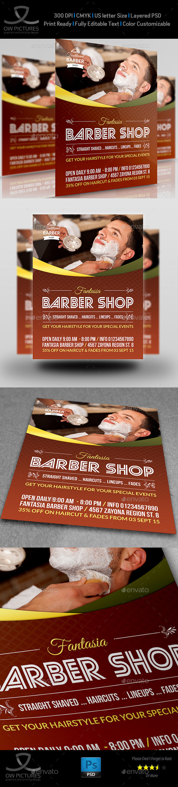 GraphicRiver Barber Shop Flyer Template 11948397