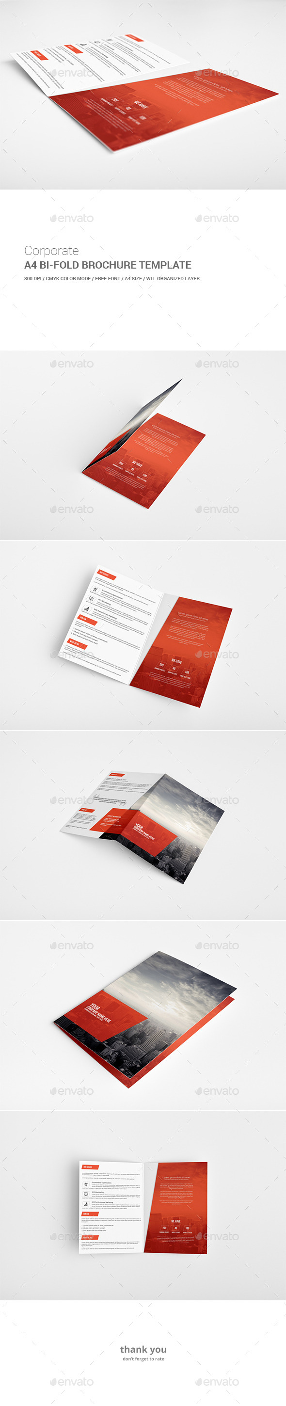 double fold brochure template - graphicriver corporate bi fold brochure template 11948467