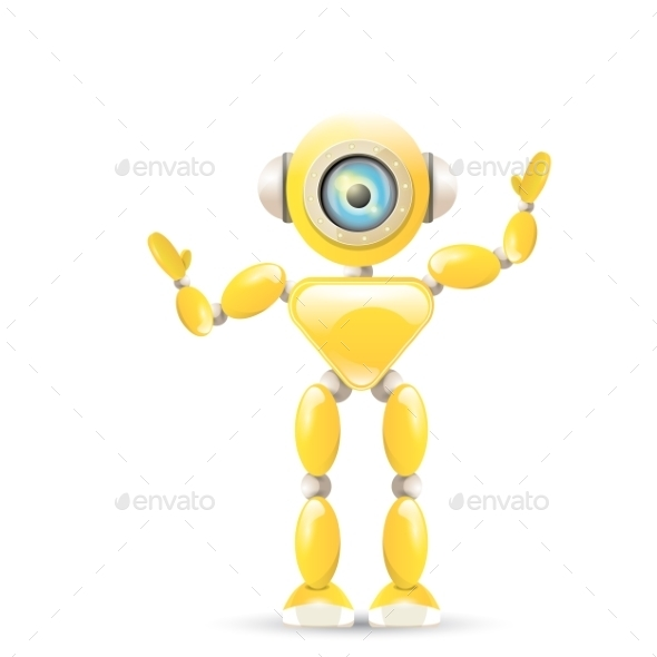 GraphicRiver Orange Cartoon Robot 11948657