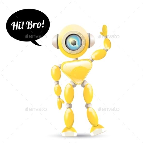 GraphicRiver Orange Cartoon Robot 11948659