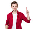 Man pointing showing copy space isolated on white background - PhotoDune Item for Sale