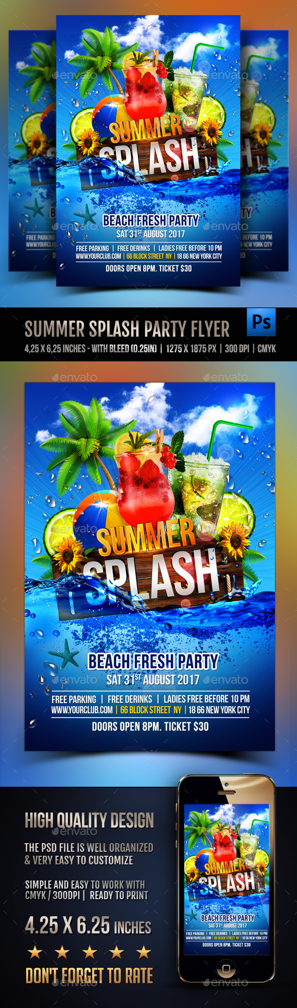 GraphicRiver Summer Splash Cocktails Party Flyer 11948961
