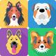 Set dog head icon flat design - PhotoDune Item for Sale