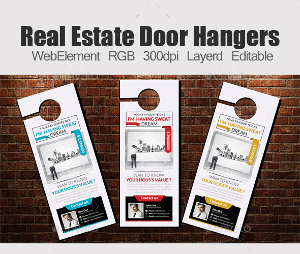 GraphicRiver Real Estate Door Hangers Template 11949698
