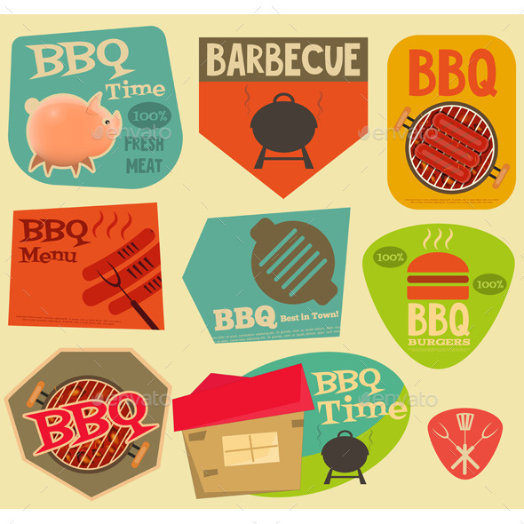GraphicRiver Retro BBQ Stickers Collection 11950214