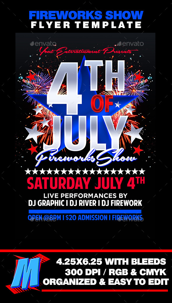 GraphicRiver Fireworks Show Flyer Template 11950283
