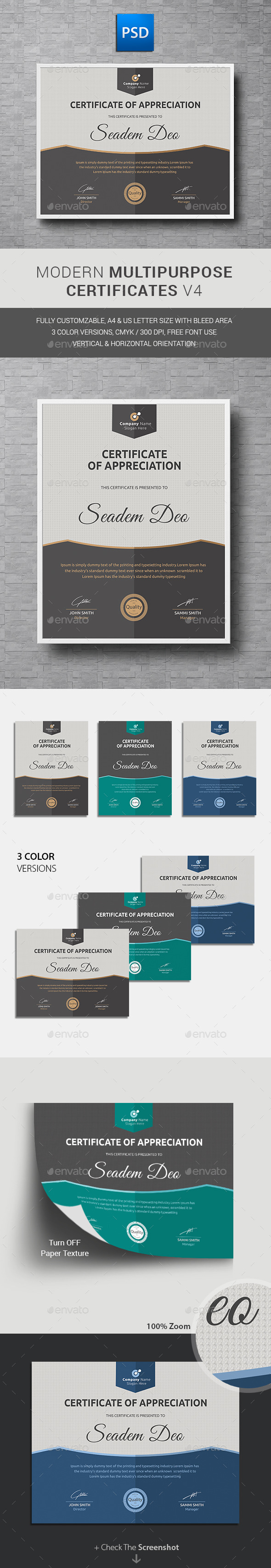 GraphicRiver Modern Multipurpose Certificates 11950362