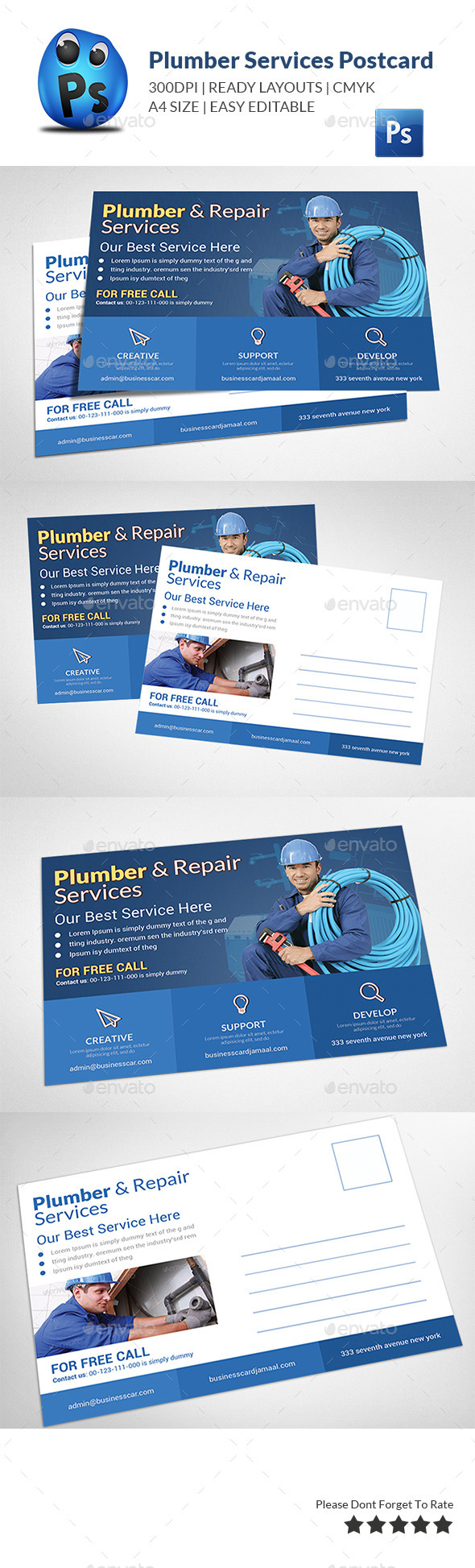 GraphicRiver Plumber Service Postcard Template 11950413
