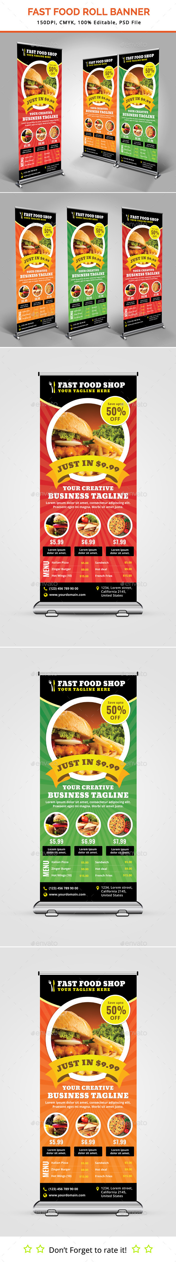 GraphicRiver Fast Food Roll Up Banner 11950428