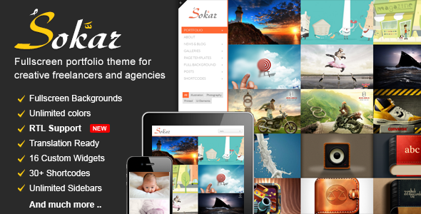 Sokar - Responsive Fullscreen Portfolio WordPress Theme - Portfolio Creative