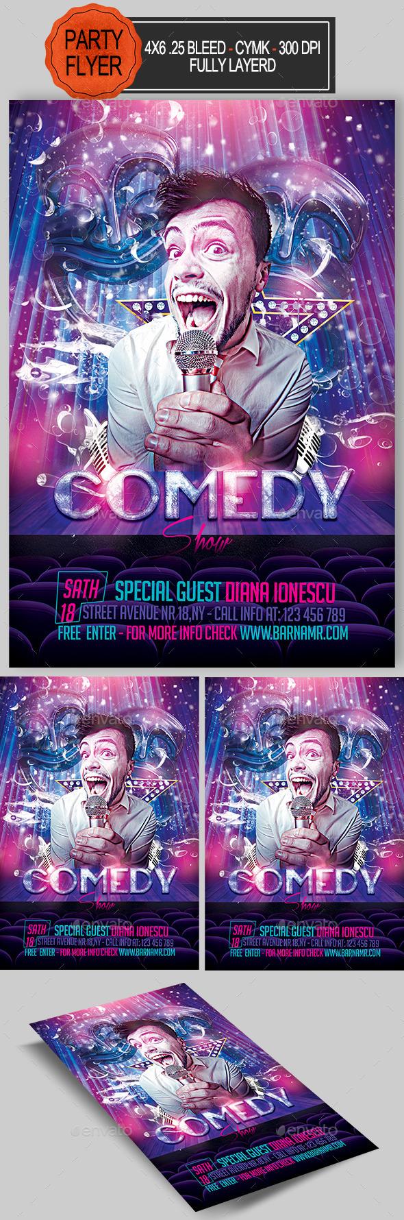GraphicRiver Comedy Show Flyer 11950835