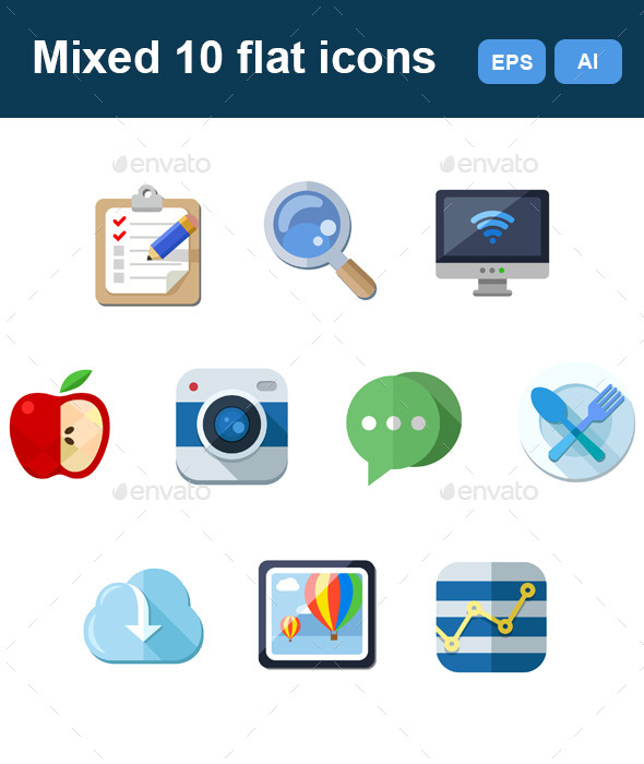 GraphicRiver Mixed Flat 10 Icons Set 11951366