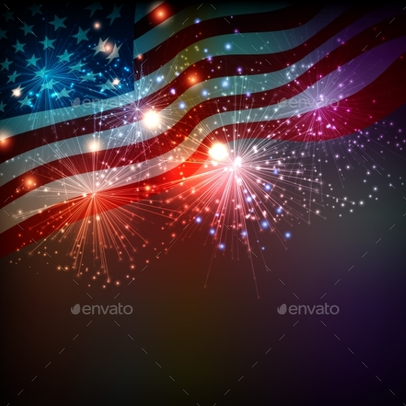 GraphicRiver Fireworks Background for 4th of July 11951605