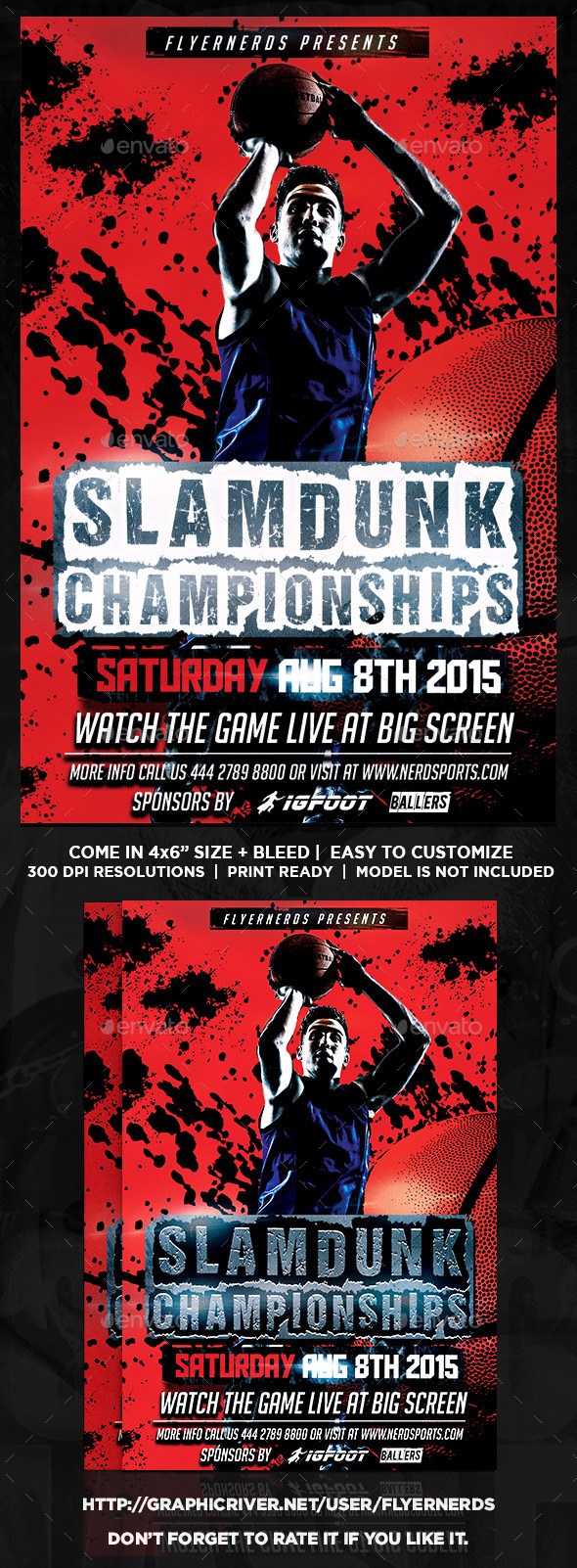 GraphicRiver Basketball Slamdunk Championships Sports Flyer 11951811