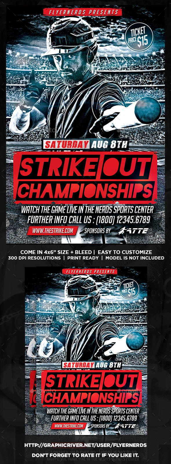 GraphicRiver Baseball Strike Out Championships Sports Flyer 11951820