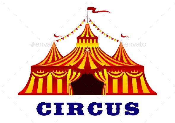 GraphicRiver Circus Tent With Red And Yellow Stripes 11951930