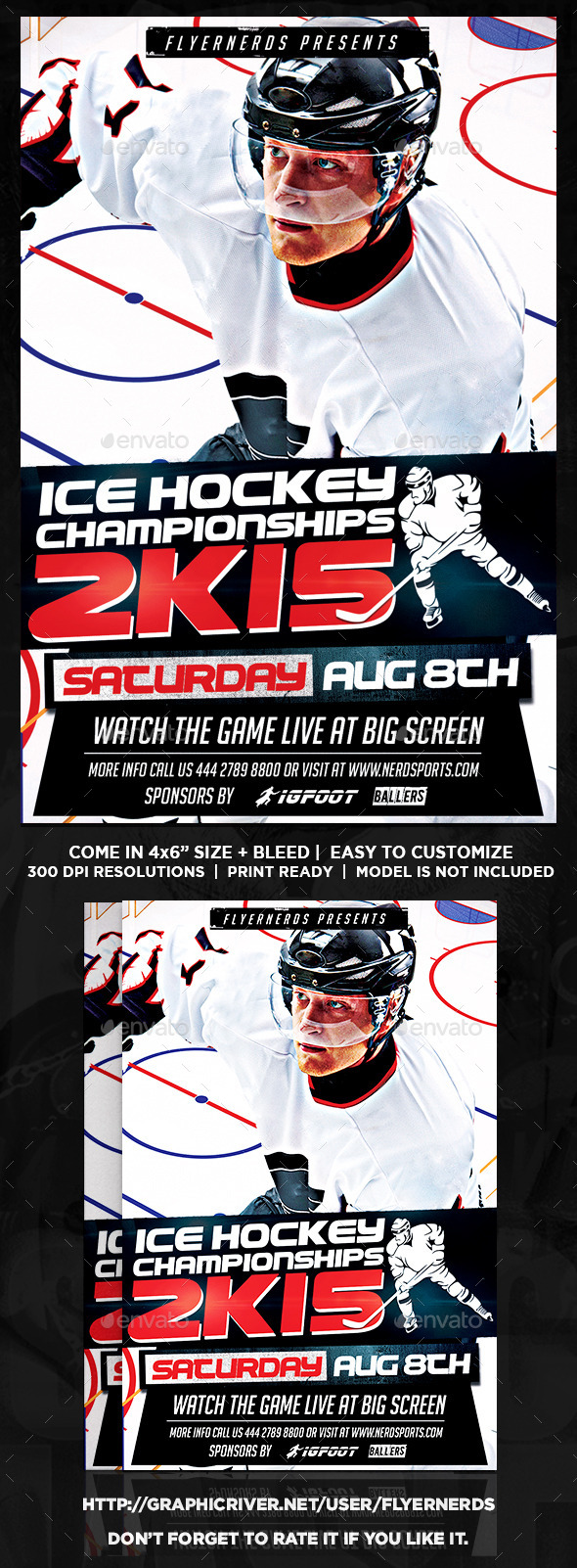 GraphicRiver Ice Hockey Championships 2K15 Sports Flyer 11952040