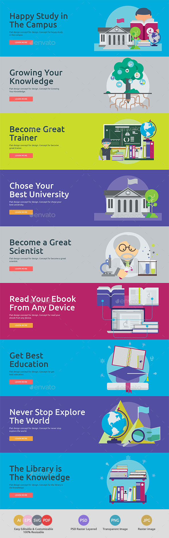 GraphicRiver Flat Concept Banners for Education 2 11953457