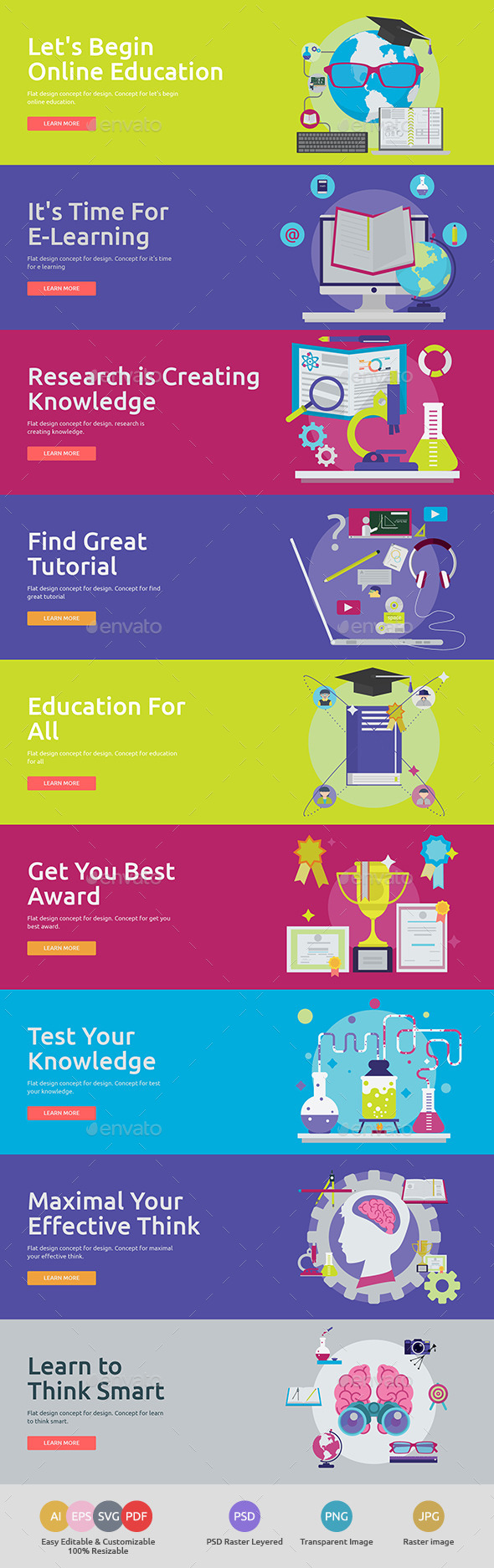 GraphicRiver Flat Concept Banners for Education 3 11953458