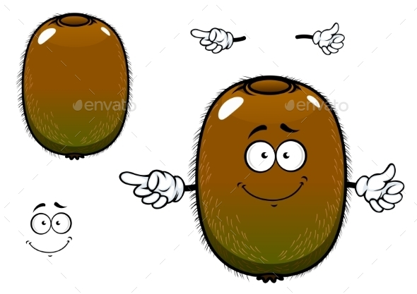 Fuzzy Kiwi Fruit Cartoon Character