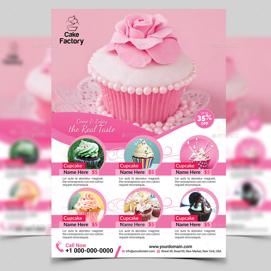 cupcake flyer template by aam360 graphicriver. Black Bedroom Furniture Sets. Home Design Ideas