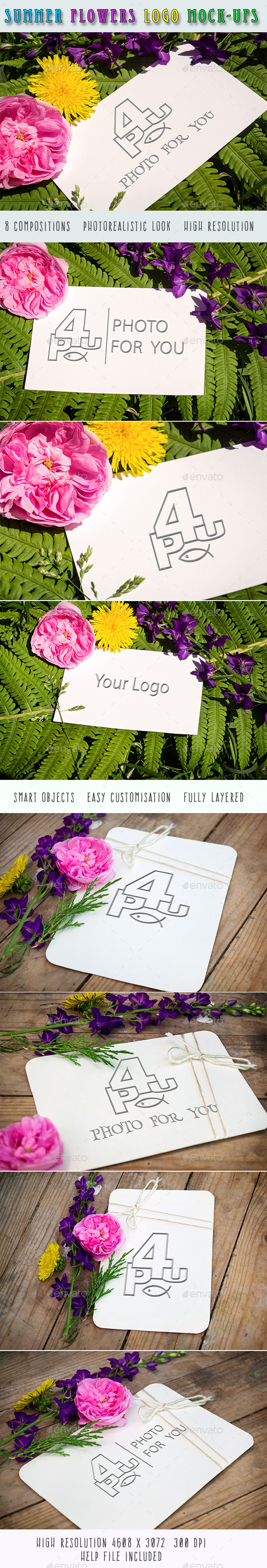 GraphicRiver Summer Flowers Logo Mock-Ups 11857237