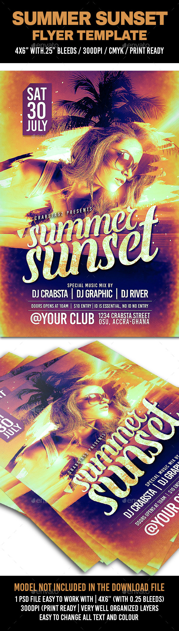 GraphicRiver Summer Sunset Flyer Template 11954602
