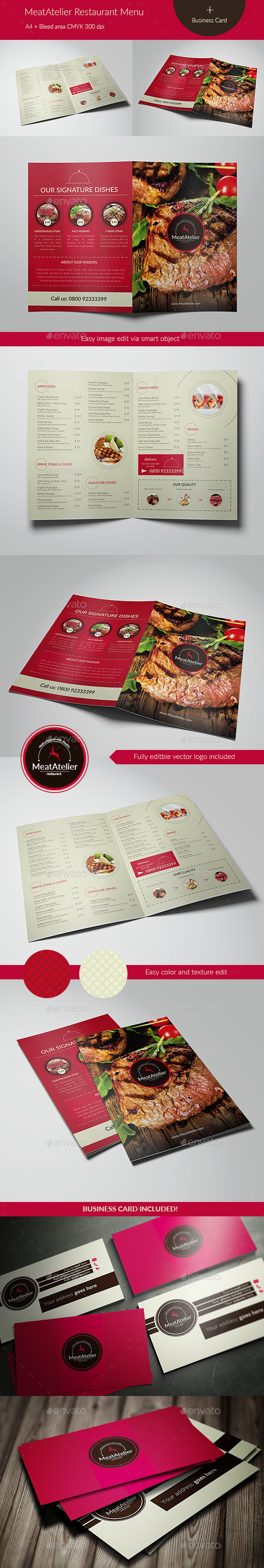 GraphicRiver MeatAtelier Menu & Business Card 11954628