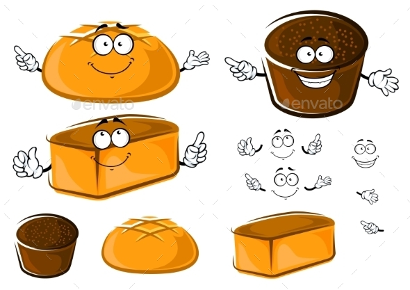GraphicRiver Cartoon Wheat And Rye Brown Breads Characters 11954726