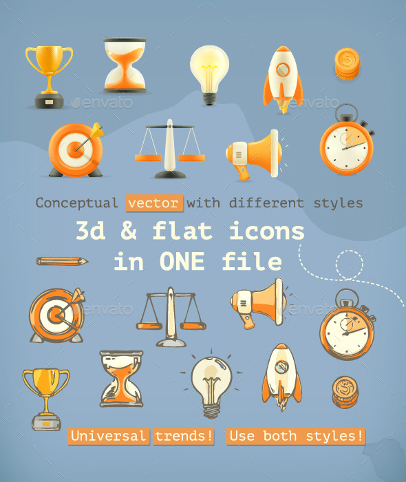 GraphicRiver 3D and Flat Icons 11954803