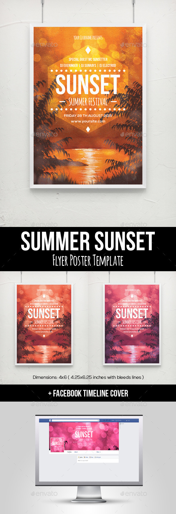 GraphicRiver Summer Sunset Flyer Poster Template 11955930