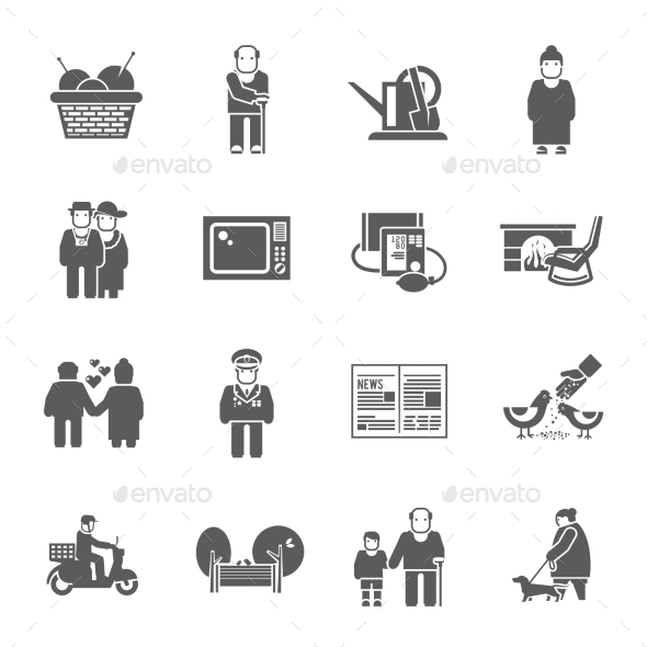 GraphicRiver Pensioners Life Icons Set 11956311