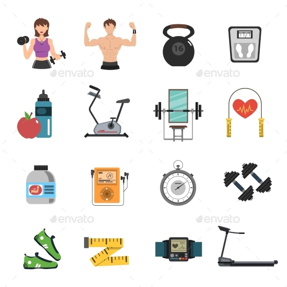 GraphicRiver Gym Icon Flat Set 11956312