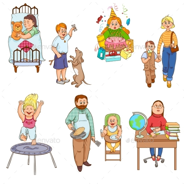 GraphicRiver Parents with Children Cartoon Icons Collection 11956326