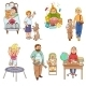 Parents with Children Cartoon Icons Collection - GraphicRiver Item for Sale