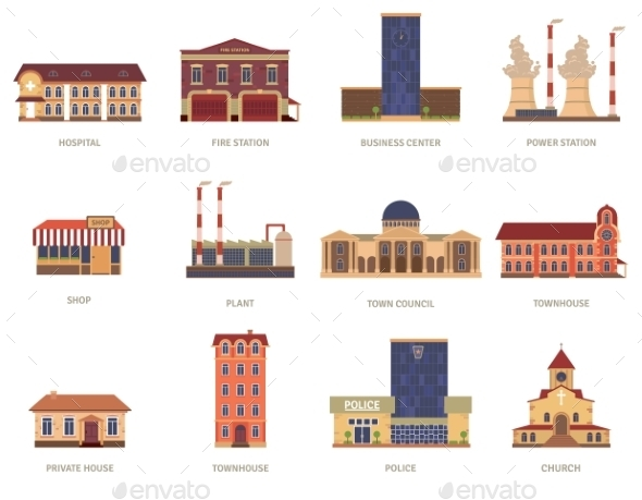 GraphicRiver City Buildings Vintage Icons Set 11956333
