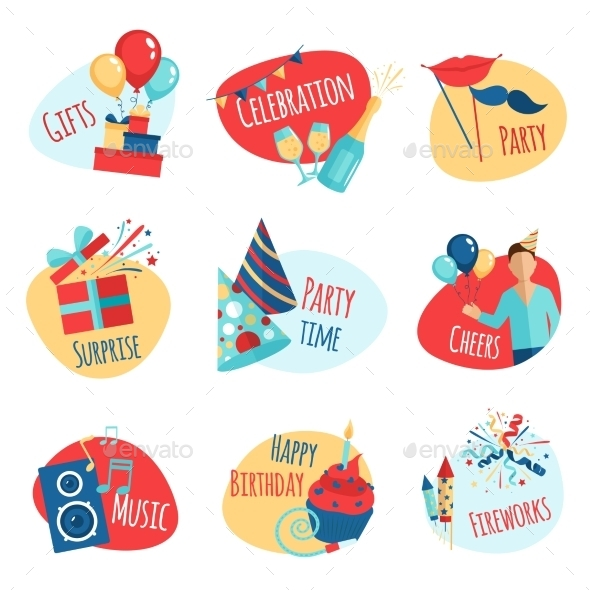 GraphicRiver Party Emblems Set 11956337