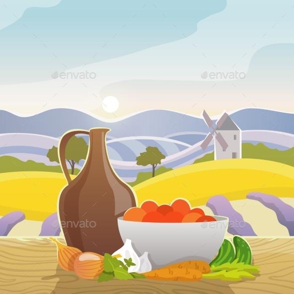 GraphicRiver Rural Landscape With Still Life 11956609