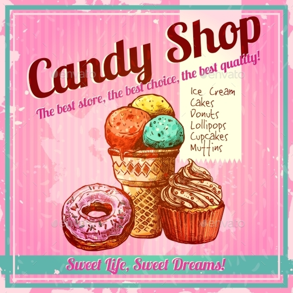 GraphicRiver Vintage Candy Shop Poster 11956680