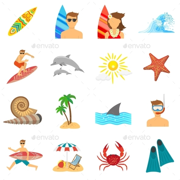 GraphicRiver Surfing Icons Flat Set 11956765