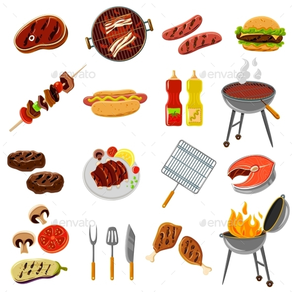 GraphicRiver Barbecue Icons Set 11956773