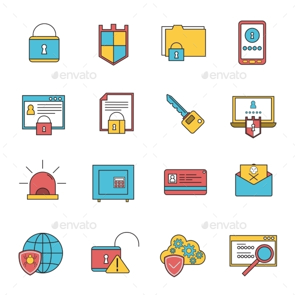 GraphicRiver Computer Security Icons Set Line 11956797