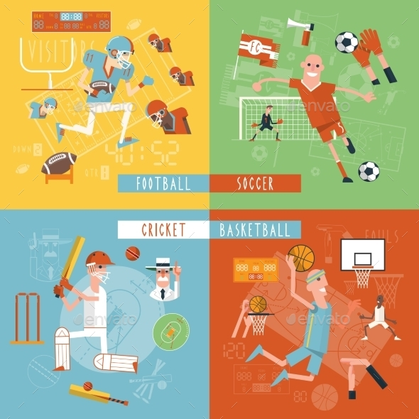 GraphicRiver Team Sport Flat Icons Square Banner 11956934