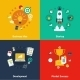 Business Concept 4 Flat Icons Square - GraphicRiver Item for Sale