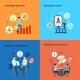 Mentorship 4 Flat Icons Square Composition  - GraphicRiver Item for Sale