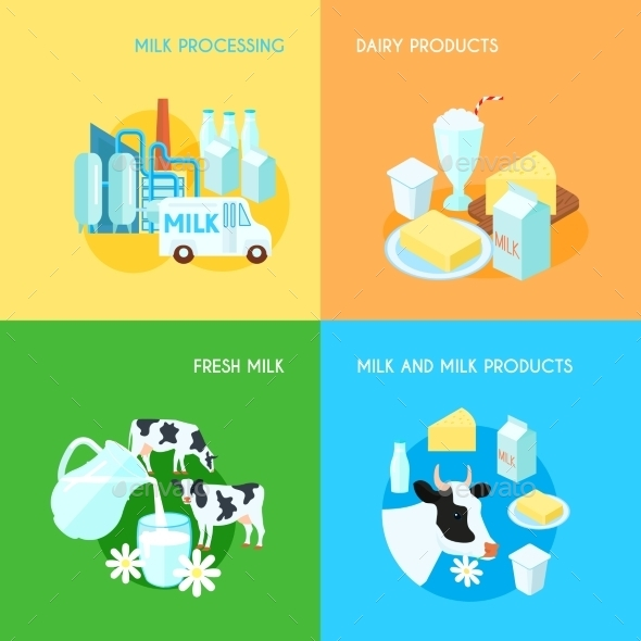 GraphicRiver Milk 4 Flat Square Icons Composition 11956952