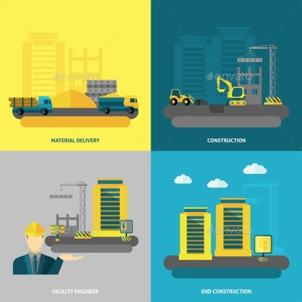 GraphicRiver Construction Icons Flat 11956962