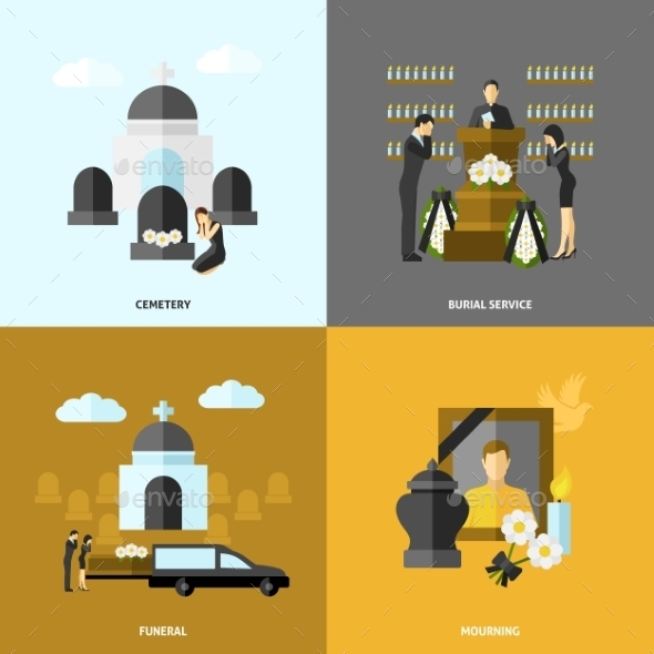 GraphicRiver Funeral Flat Set 11956964