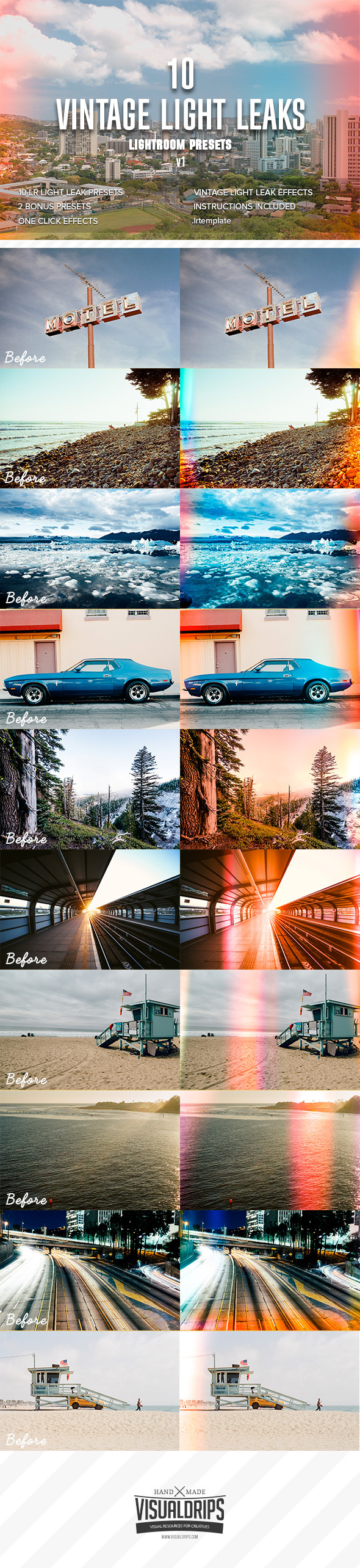 GraphicRiver 10 Vintage Light Leaks vol.1 Lightroom Presets 11956978